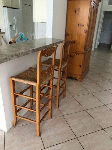 2 Matching Wood and Sea Grass Barstools