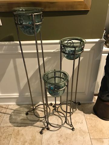 3 piece iron and glass vases