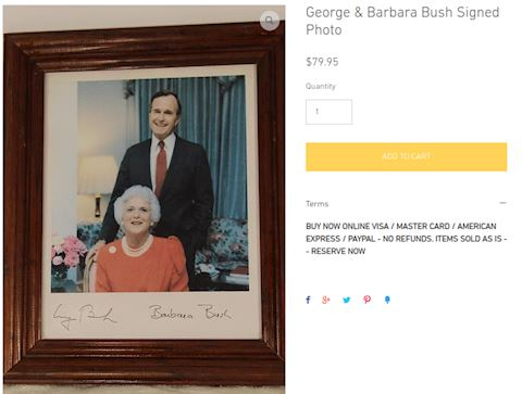 George & Barbara Bush Signed Photo
