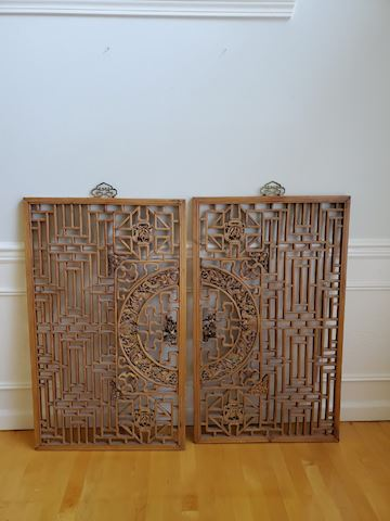 2 Asian style teak carved wall hangings with brass