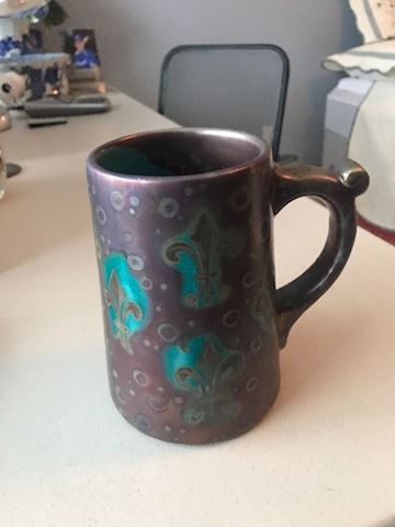 Weller pottery iridescent#1 SICARD tankard mug