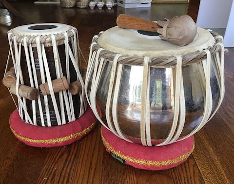 Lot of 2 Bina Tabla Drums & Stands with Mallet