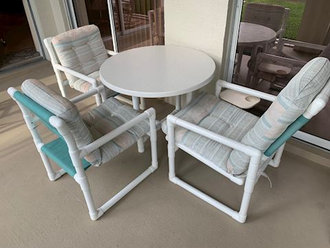 PVC Patio Set w/ Cushions