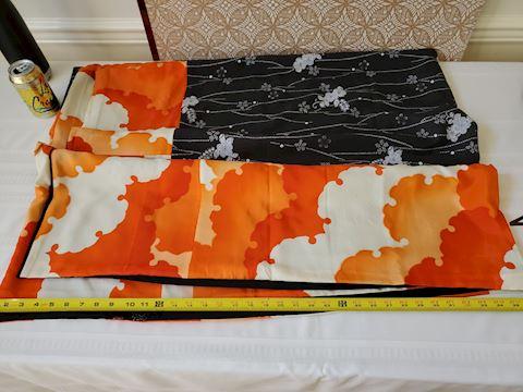 Black and orange floral Japanese textile