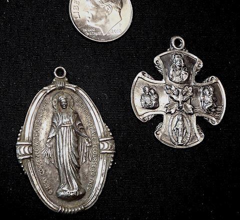 2 Vintage Sterling Religious Medallions, Catholic