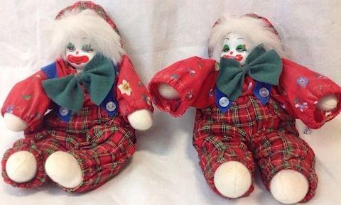 two vtg red clowns porcelain dolls 80A6