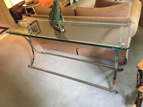 Sleek Glass and Brass Sofa or Entry Table