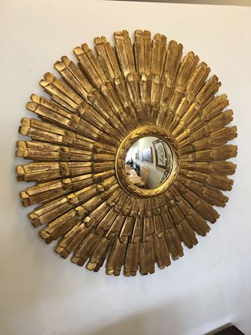 "36""  Gold Gilded Sunburst MCM Round Wall Mirror"