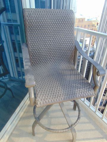 Cast Iron Patio Set with Two Webbed Chairs