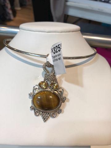 Tiger eye and citrine pendant sterling chocker