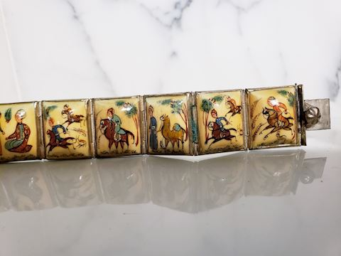 Vtg Persian Painted silverPanel Bracelet horses