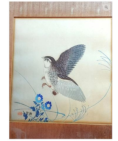 Asian Art Bird Flower Signed