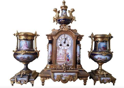 French 19th c Gilt & Sevres Porcelain Mantle Set
