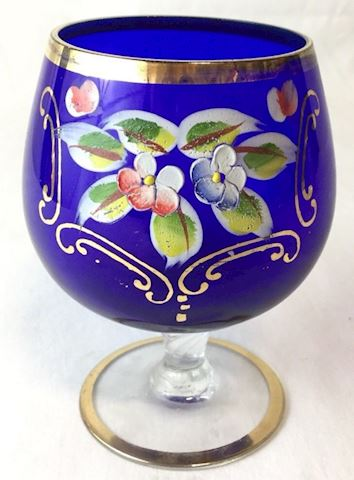 Blue gold floral hand painted brandy glass 80S28