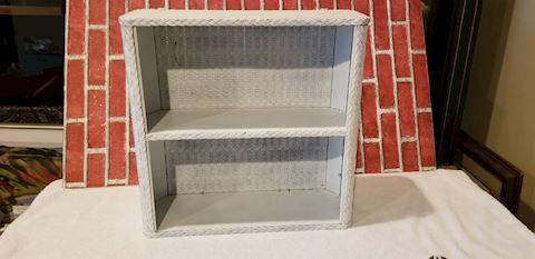 Vintage light grey wicker wall shelf