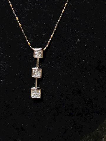 Approximately 1.5ctw Princess Cut Diamond Pendant