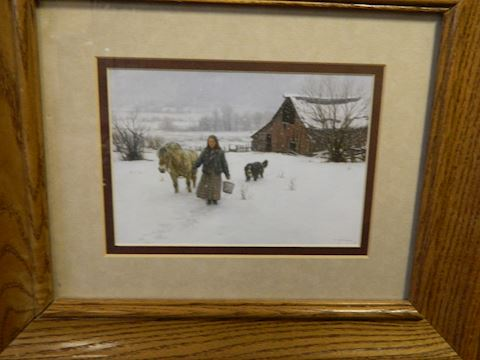 Woman -Horse - Dog - Barn Winter Scene
