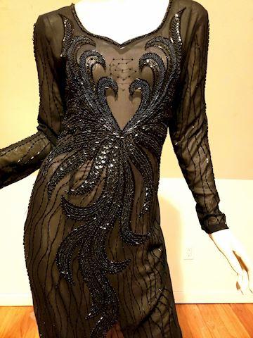 Vtg layering onyx beaded dress on voile maxi
