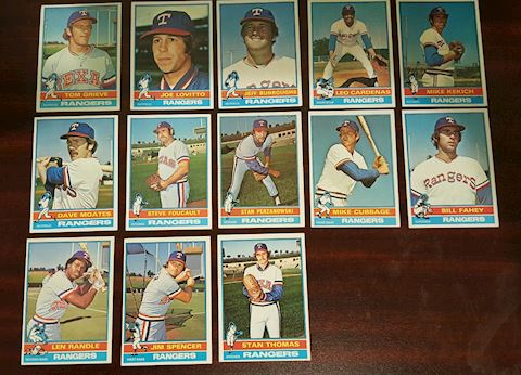 Lot of 13 Old 1976 Texas Rangers Baseball Cards