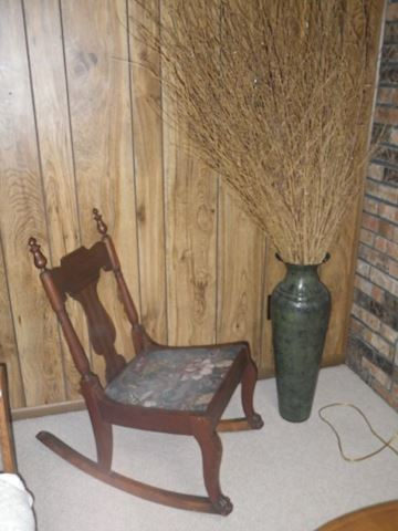 Rocking Chair and Metal Vase