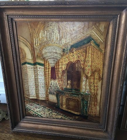 Large Oil Painting of Room Interior by Fatima