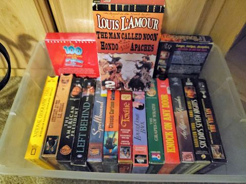 VHS and Audio Books Lot