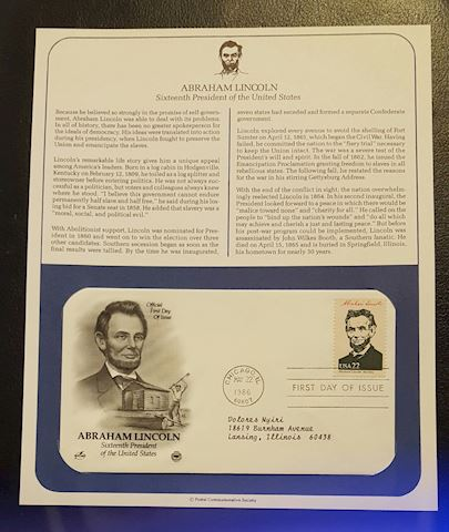 Abraham Lincoln 1986 First Day of Issue Cover