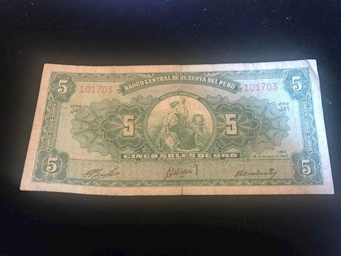 vintage 1960 5 Soles De Oro note from Peru