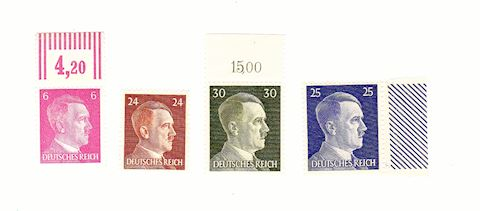 4 Adolf Hitler & 3 Old U.S. Stamps