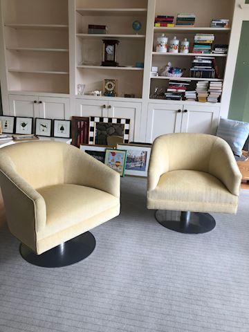 Pair of Soft Cream/Yellow Club Chairs