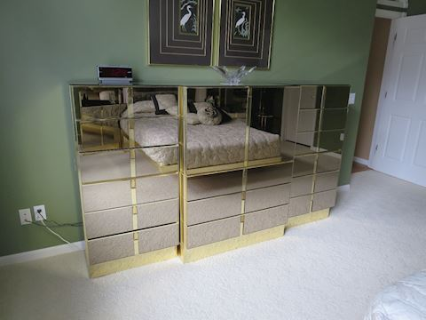 Contemporary Mirrored Triple Dresser Possibly ALF