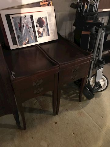 Matching pair of antique cherry end tables