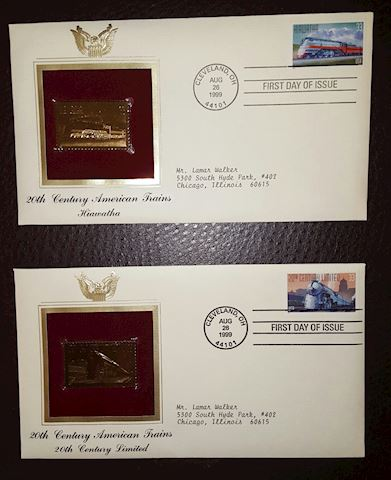 2 Vintage 22K Gold Train First Day of Issue Covers