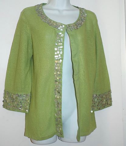 Lauren Hansen Green Linen Sweater w/ Shell Beads M