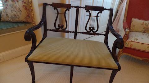Sheraton Mahogany Two Seater Bench