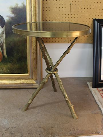 Brass Accent Table with Tripod Base, Stone Top
