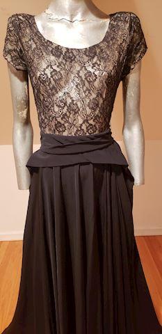 1930's Ballroom Lace & Crepe dress full skirt