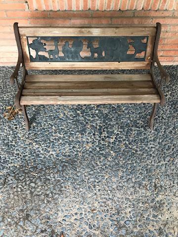 102.  Yard.  Children's bench w/ wood & cast iron