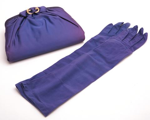 Vintage Ingber periwinkle satin clutch with gloves