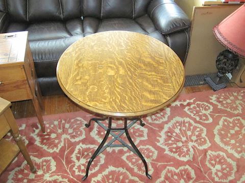 Vintage Patina Copper Round Bistro Style Table