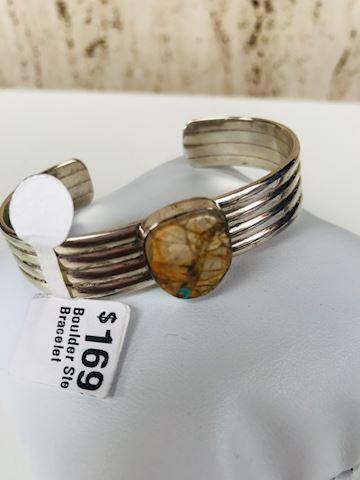 Boulder Turquoise cuff sterling silver bracelet