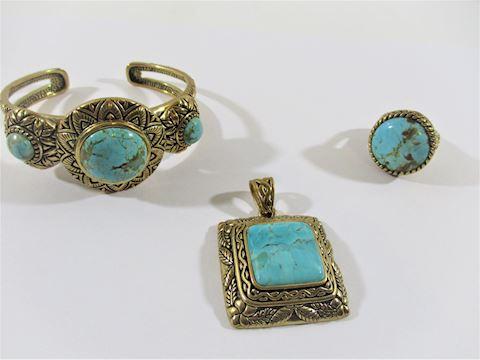 3 Pc Barse Turqouise Set , Bracelet,Ring Pendant