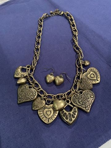 Antique Gold Color Muti Heart Necklace Set