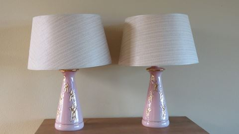 Pair of Pink Mid Century Lamps