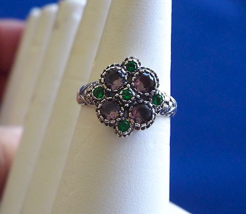 Sterling Silver, Amethyst, Green Garnet Ring, 6.5