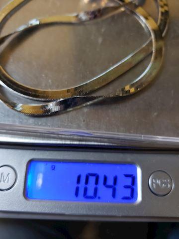 "19 1/2"" silver herringbone necklace"