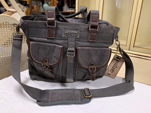 Cargoit Gray Canvas Tote with Shoulder Strap