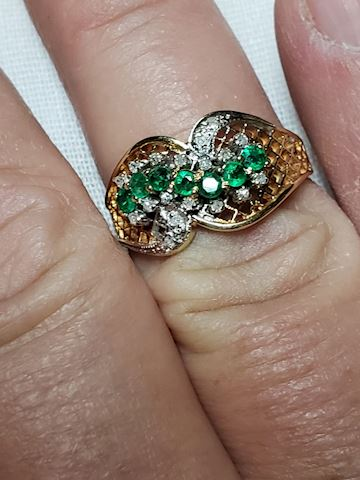 Emeralds and Diamonds, 14k, size 7
