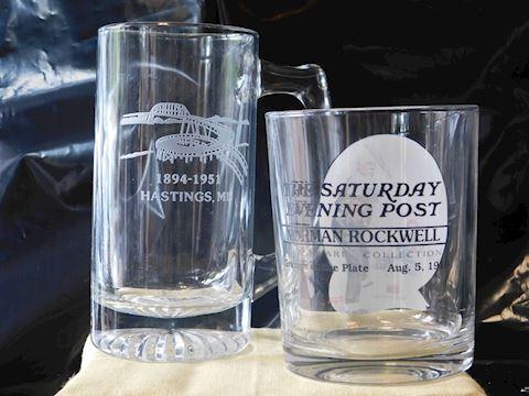 Sat. Evening N. Rockwell glass/Spiral Bridge Mug