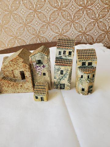 Ceramic village figurines 7 individual pieces